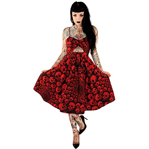 Rockabilly Dresses | Rockabilly Clothing | Viva Las Vegas Folter Deadly Spiral Dress Red/Black $93.95 AT vintagedancer.com