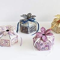 Nueva caja de dulces de regalo en 3D cosido troqueles de corte, Letmefun troqueles de corte de metal DIY Scrapbooking Craft repujado troquelado haciendo plantilla de plantilla