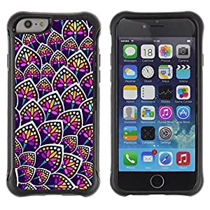 Suave Caso Carcasa de Caucho Funda para Apple Iphone 6 PLUS 5.5 Flower Neon Colorful Uniform Pattern / JUSTGO PHONE PROTECTOR