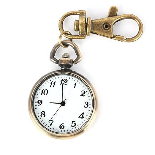 SODIAL(R) Color de bronce Reloj de cuarzo pendiente redondo Reloj para ninos senoras de llavero de bolsillo Reloj regalo Regalo de Navidad