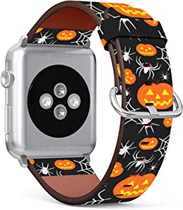 Replacement Leather Strap Printing Wristbands Compatible with Apple Watch Series 5/4 / 3/2 / 1 (38mm / 40mm) - Halloween Pumpkin and Spider