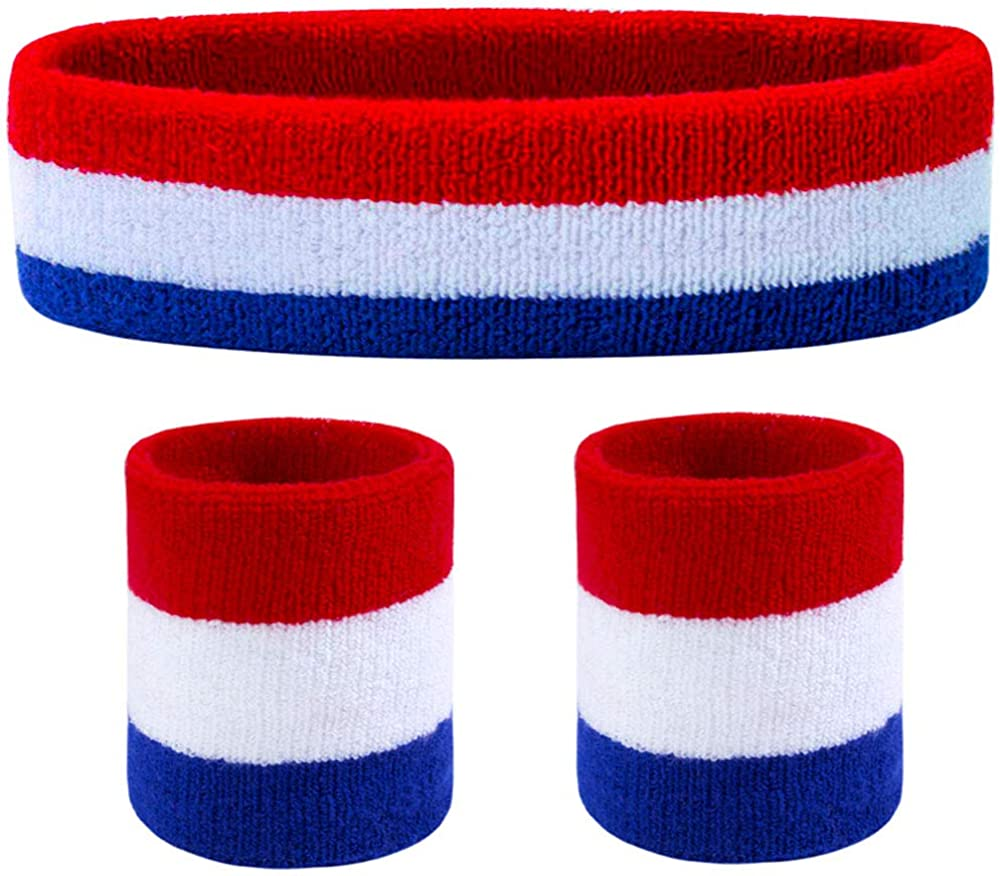 Favofit Headbands/Wristbands for Women Men Girls Boys for Gym Workout & Yoga, Super Comfy Sports Sweatbands for Football Baseball Basketball Soccer Boxing & Tennis, Sweat Out of Your Eyes & Wrists