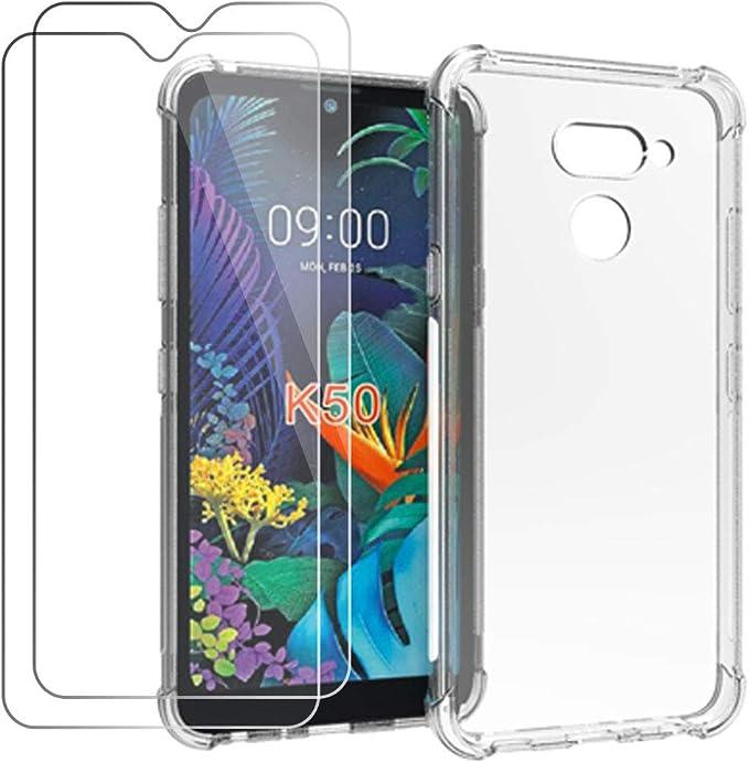 HYMY Funda para LG K50 + 2 x Cristal Templado: Amazon.es: Electrónica