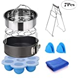 Instant Pot Accessories Set (7 Pieces)-Fits 5,6,8 Quart Pressure Cooker Accessories Steamer Basket Springform Pan Egg Rack Egg Bites Mold Plate Gripper Silicon Mitts Cleaning Cloth Free Recipe Ebook