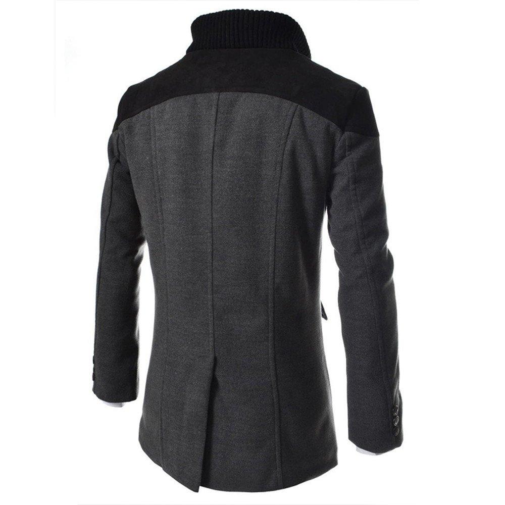 4ffbd855d312 Manteau Homme D hiver Veste Chaud fit Trench Coat Manche Longue Blazer  Outwear Mode PowerFul-LOT Hommes Veste Chaud Trench D hiver Long Outwear  Bouton Smart ...