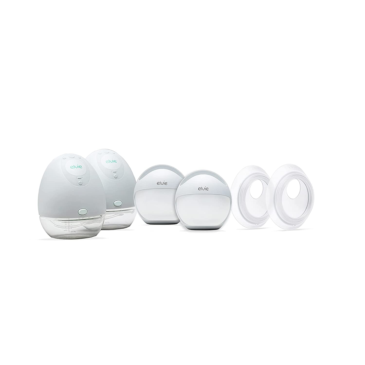 Elvie Breast Pump Bundle - Includes Double Silent Wearable Breast Pump, The Curve Hands-Free Manual Pump, & Catch Secure Milk Collection Cups (Set of 2 Silicone Cups)