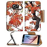 MSD Premium Samsung Galaxy S6 Flip Pu Leather Wallet Case IMAGE ID 20011749 peacock flowers isolated on white background