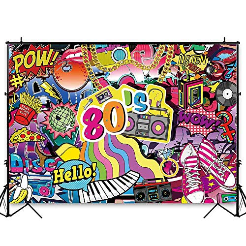 Funnytree 7x5ft Hip Pop 80s Themed Party Backdrop Graffiti Back to 80's Photography Background Rock Punk Music Disco Retro Baby Adult Birthday Banner Cake Table Decorations Photo Booth ()