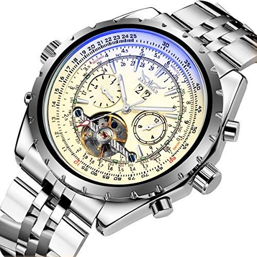 Gute Pro Multi-Functional Automatic Mechanical Watch for Mens Chrome Steel Luminous Calendar (Beige Face)