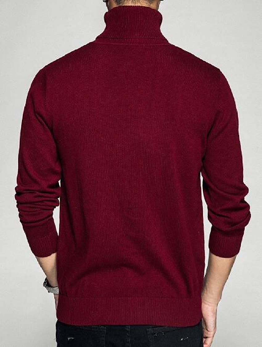 Lutratocro Men Pure Color Turtle Neck Pullover Knitted Casual Jumper Sweaters