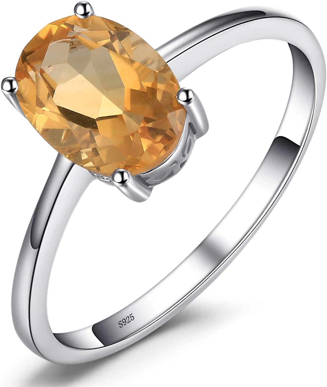 JewelryPalace Anillo Compromiso para Mujer Plata de ley 925 con Piedra Preciosa Natural Amatista Citrino Granate Peridoto Topacio Birthstone Solitario