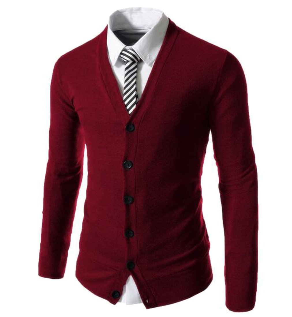 Fensajomon Mens Casual Button up Solid Color Knitted Cardigan Sweater Outerwear Wine Red 2XL