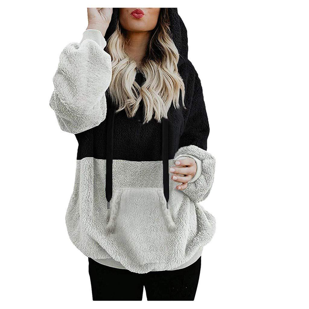 Plush Sweatshirts for Women - Yezijin Womens Oversized Warm Zipper Hoodies Casual Loose Pullover Hooded Sweatshirt 2019 Black by Yezijin Sweatshirt/Hoodies 001