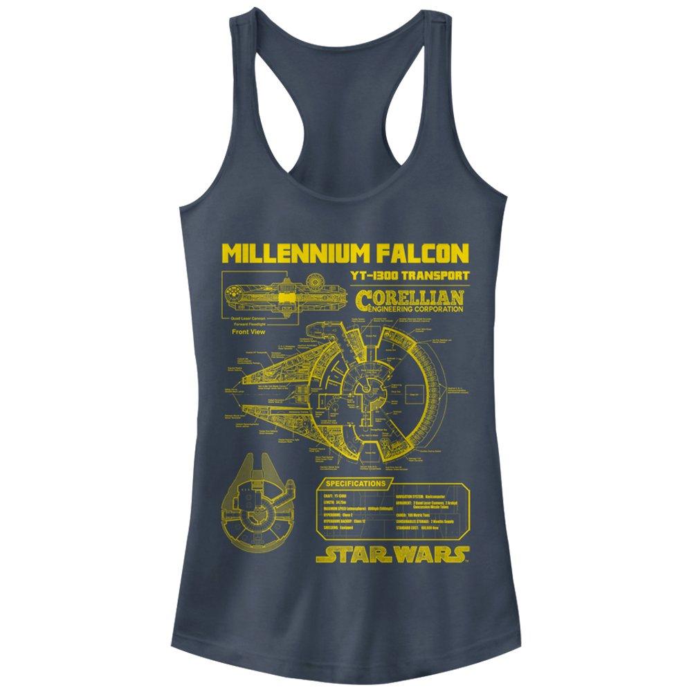 Star Wars Juniors Millennium Falcon Schematics Racerback Tank Top