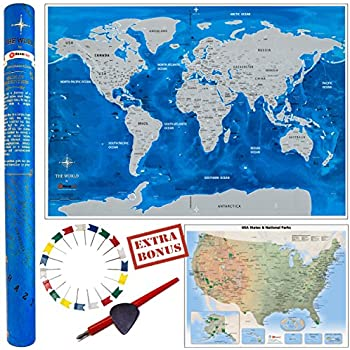 Amazon world scratch map travel poster wall art for the deluxe gift set scratch off world map 33x23 us travel map 2 gumiabroncs Images