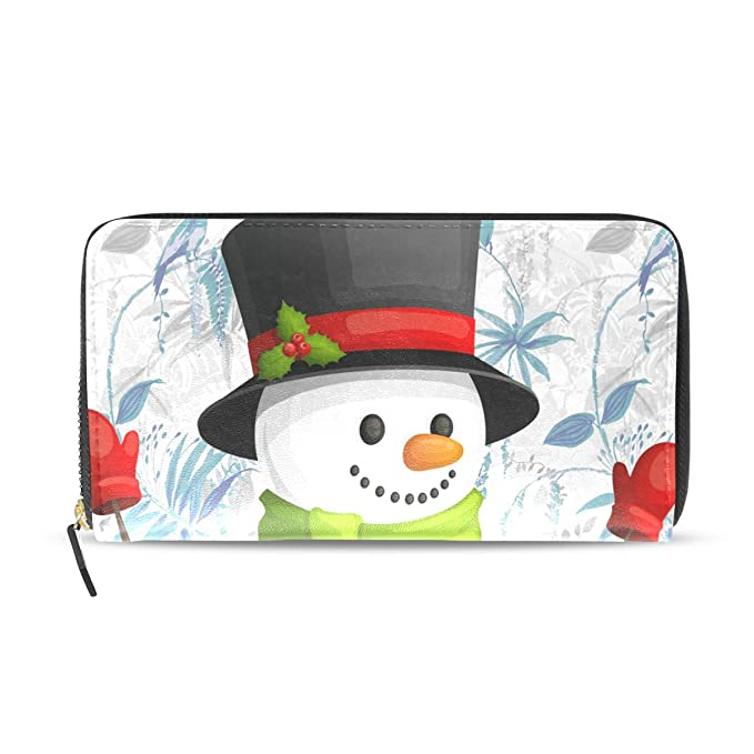 a86dfd06b2e7 Snowman Green Scarf Genuine Leather Wallet Case Credit Card Holder ...