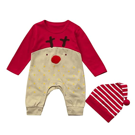 QUICKLYLY 2pcs Peleles Navidad Bebé Niño Niña Conjunto Recién Infantil Largo Manga Mono+ Sombrero Ropa: Amazon.es: Ropa y accesorios