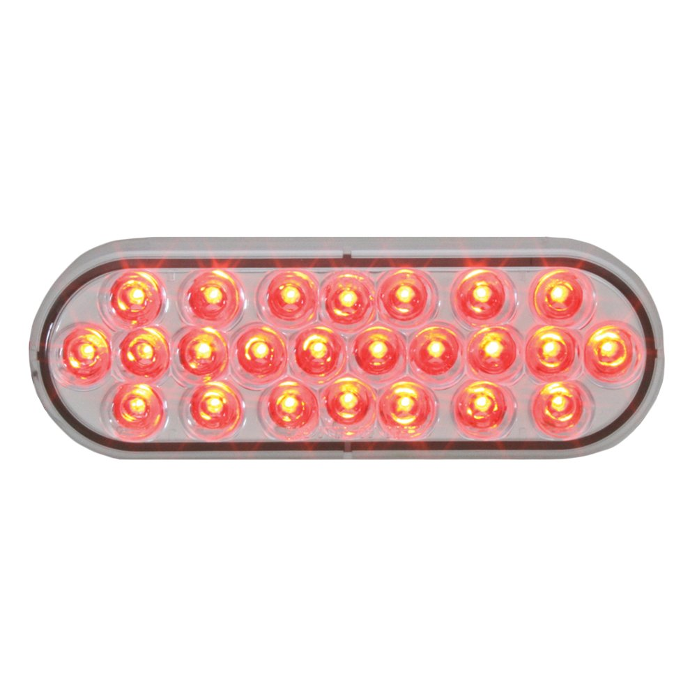 Grand General 76528 Red 4'' Oval 24 Pearl LED Strobe Light with Clear Lens