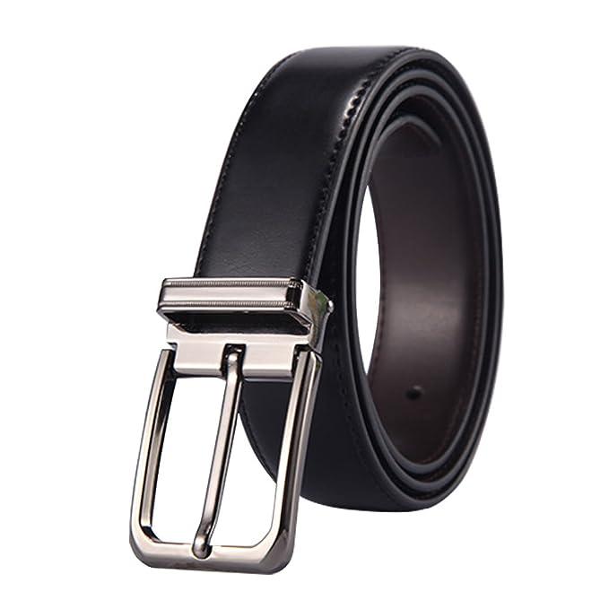 Nicaro Cinturón para hombres piel genuina Desmontable Hebilla Ajustable Sencillo lujo Cinturones para Jeans Hombres rON67lX