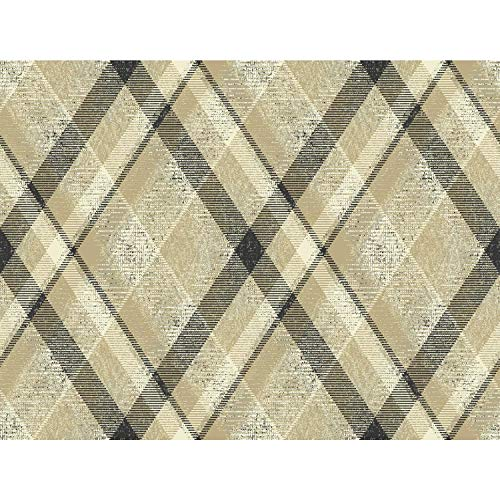 (York Wallcoverings HO3354 Diamond Plaid Wallpaper, Tailored Collection, Tan)