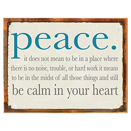 Amazon Wood Framed Peace Be Calm In Your Heart Metal Sign