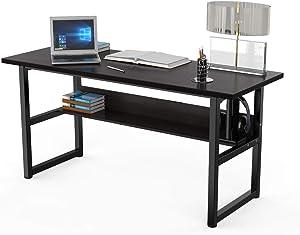 "DEWEL Computer Desk Office Desk with Bookshelf 63"" Gaming Desk Workstation PC Laptop Study Writing Table for Home Office(63"" Black Walnut)"