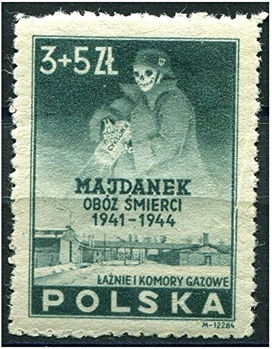 XXX-RARE ORIGINAL LARGE WW2 STAMP w SKELETON IN NAZI UNIFORM SPREADING ZYKLON B GAS OVER LUBLIN POLAND CONCENTRATION CAMP! ACTUAL ORIGINAL STAMP in PERFECT CONDITION! Read History