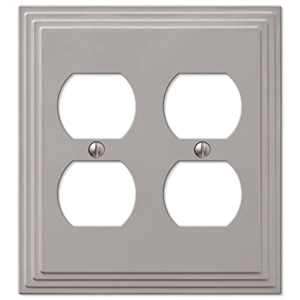 Double Duplex Outlet Cover Wall Plate Satin Nickel Finish Switch