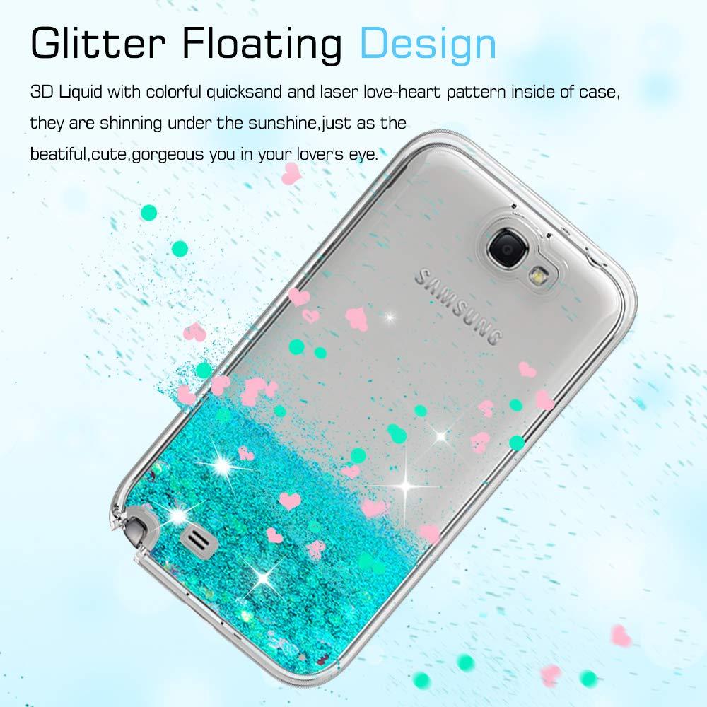 LeYi Funda Samsung Galaxy Note 2 Silicona Purpurina Carcasa con HD Protectores de Pantalla,Transparente Cristal Bumper Telefono Gel TPU Fundas Case Cover ...