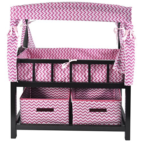 Naomi Kids Canopy Doll Crib with Baskets (Espresso Canopy Bed)