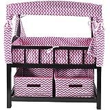 Naomi Kids Canopy Doll Crib with Baskets Espresso