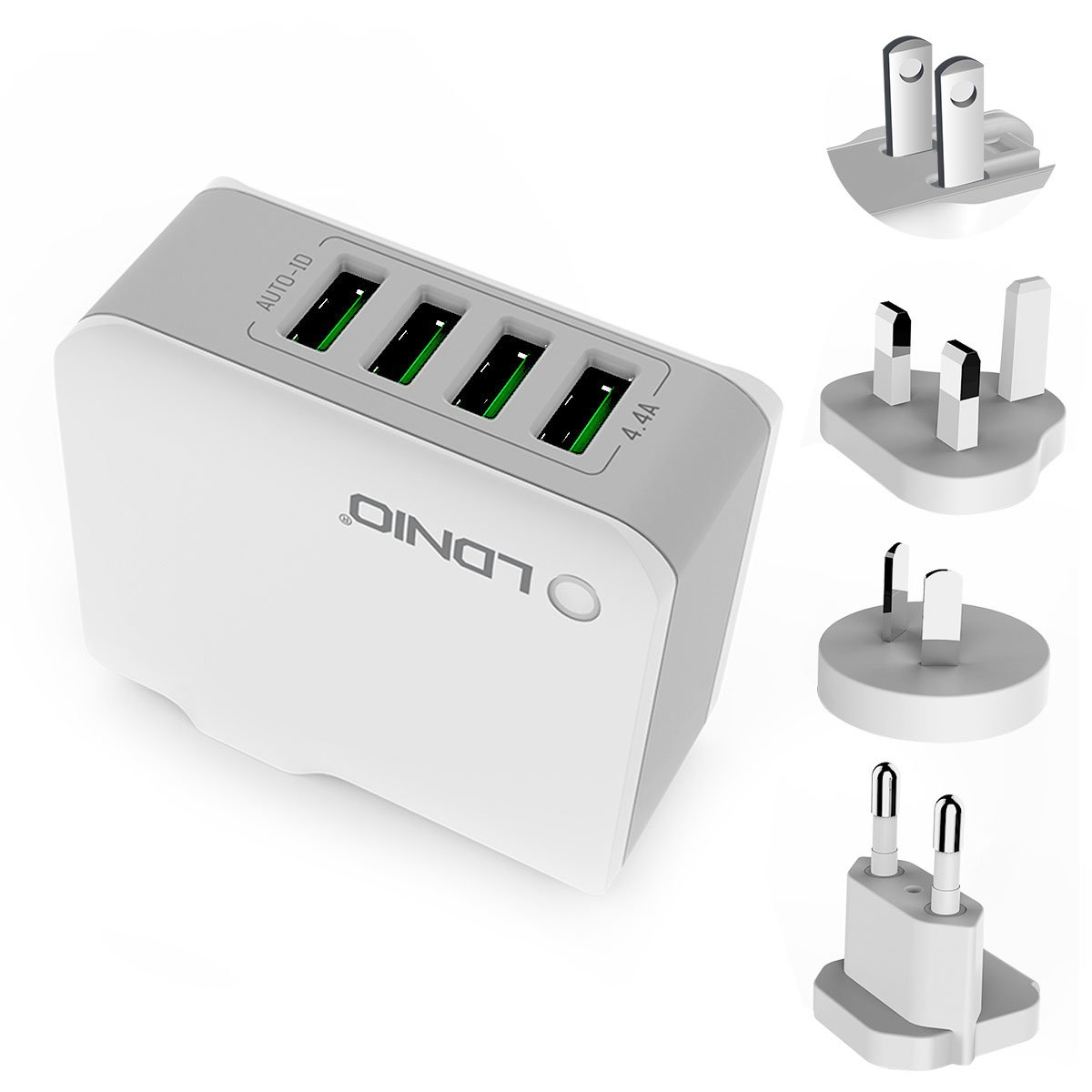 ORIA Travel Charger, 4 USB Plug Charger, 4.4A Travel Charger Adapter, 22W Wall Charger with UK/AU/EU Plugs, for iPhone X, 8, 8 Plus, 7, 7 Plus, iPad Air, Mini 4, Samsung Galaxy S8, Note 8, Tablet