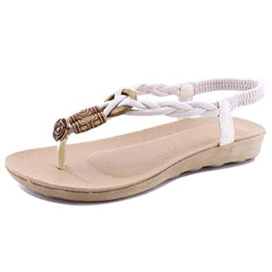 0b87c2b229020 SENFI Flat Thong Sandal Elastic T-Strap Shoes for Women