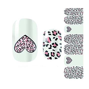 Amazon com : Heart Leopard Print Nail Art Sticker Nail