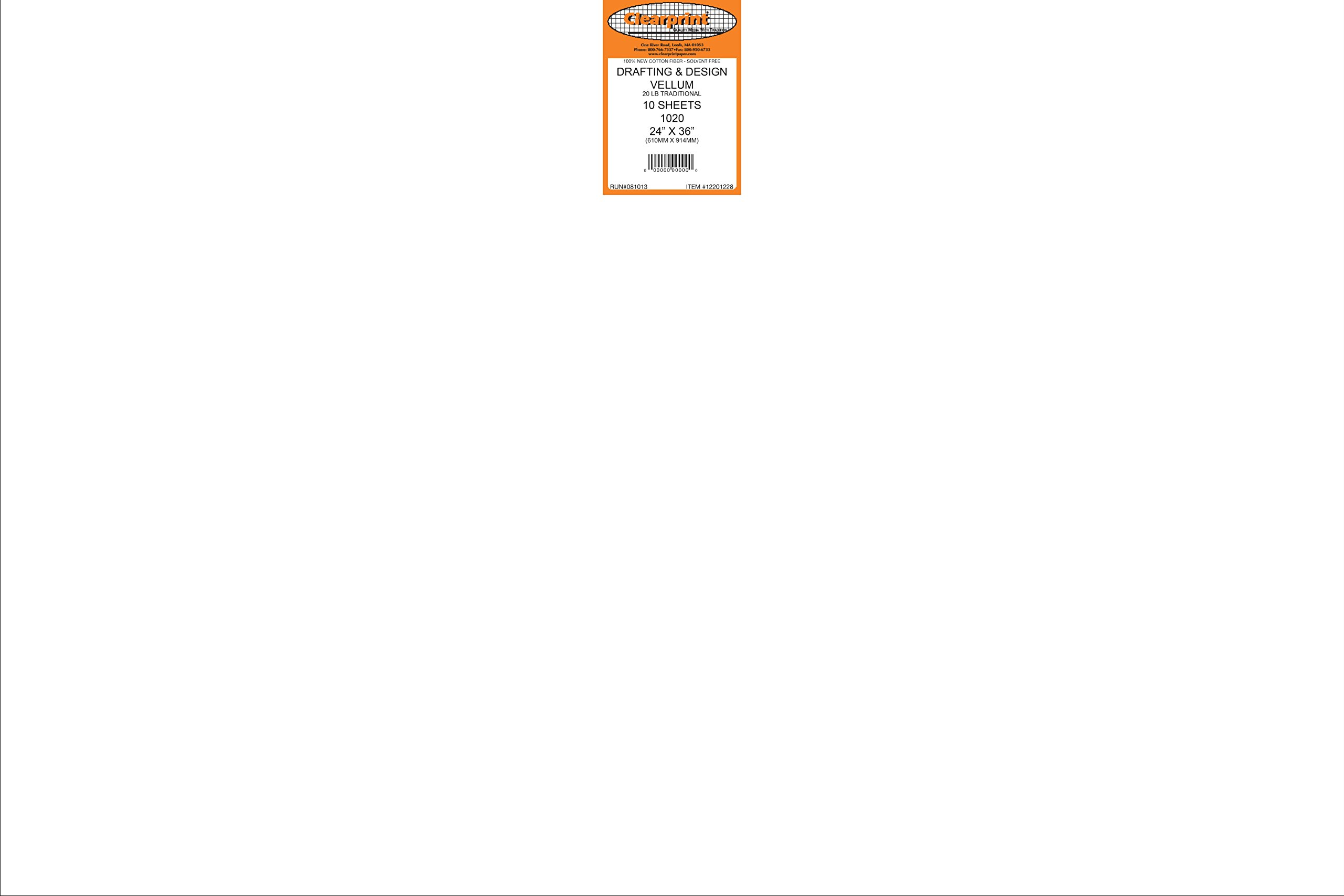 Clearprint 1020H Design Vellum Sheets, 20 lb, 100% Cotton, 24 x 36 Inches, 10 Sheets Per Pack, Translucent White, 1 Each (12201228) by Clearprint