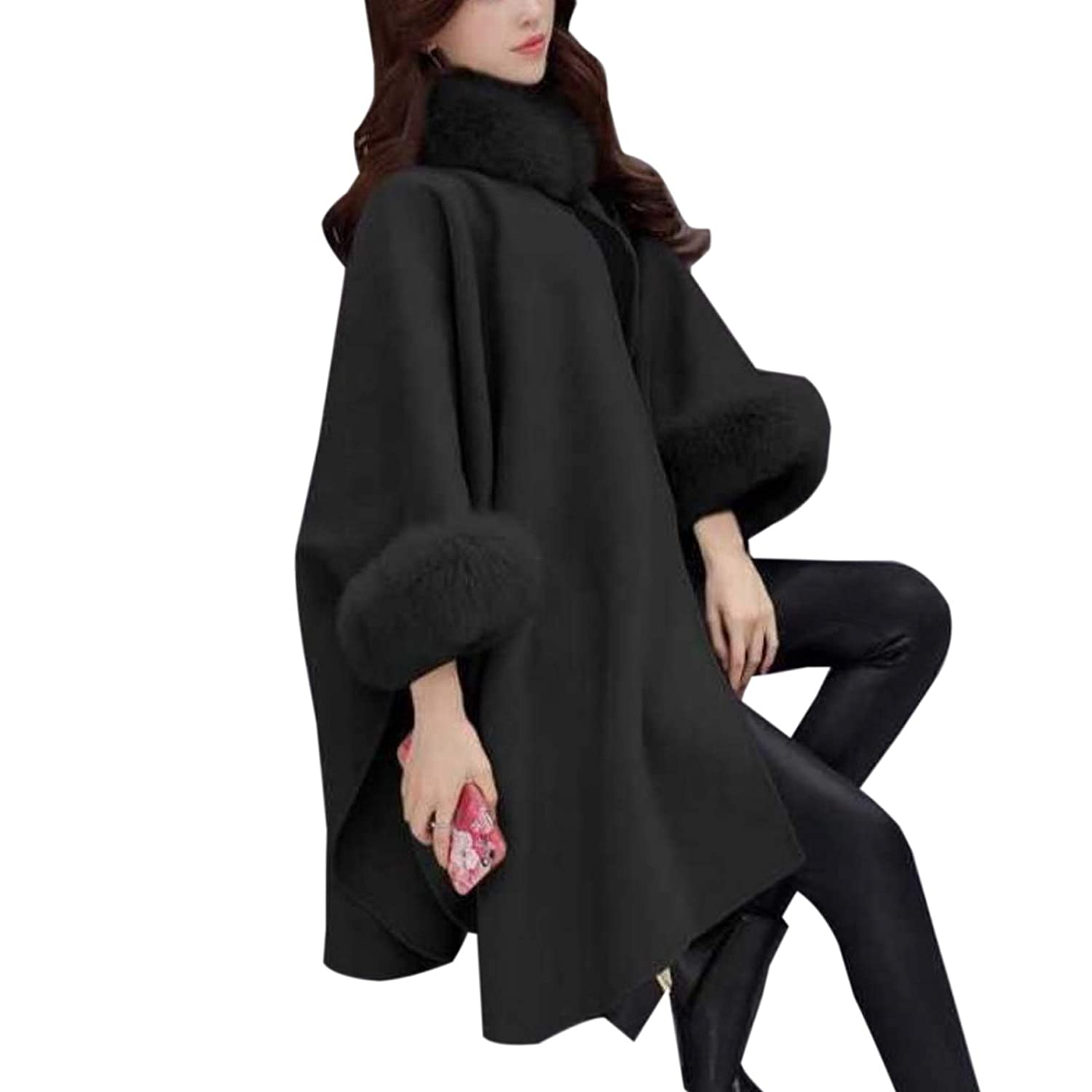 Elonglin Womens Faux Fur Cloak Coat Bat Sleeve Wool Blend Buckle Collar Cape EL.WT0438