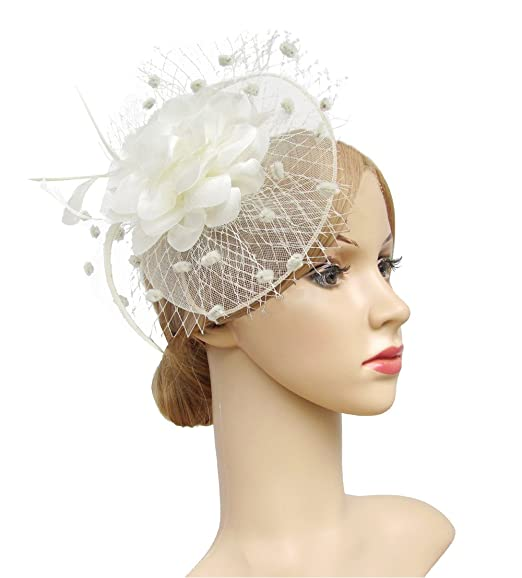 e778d936b70e K.CLASSIC Fascinators Hats for Womens 50s Headwear with Veil Flower  Cocktail Wedding Tea Party