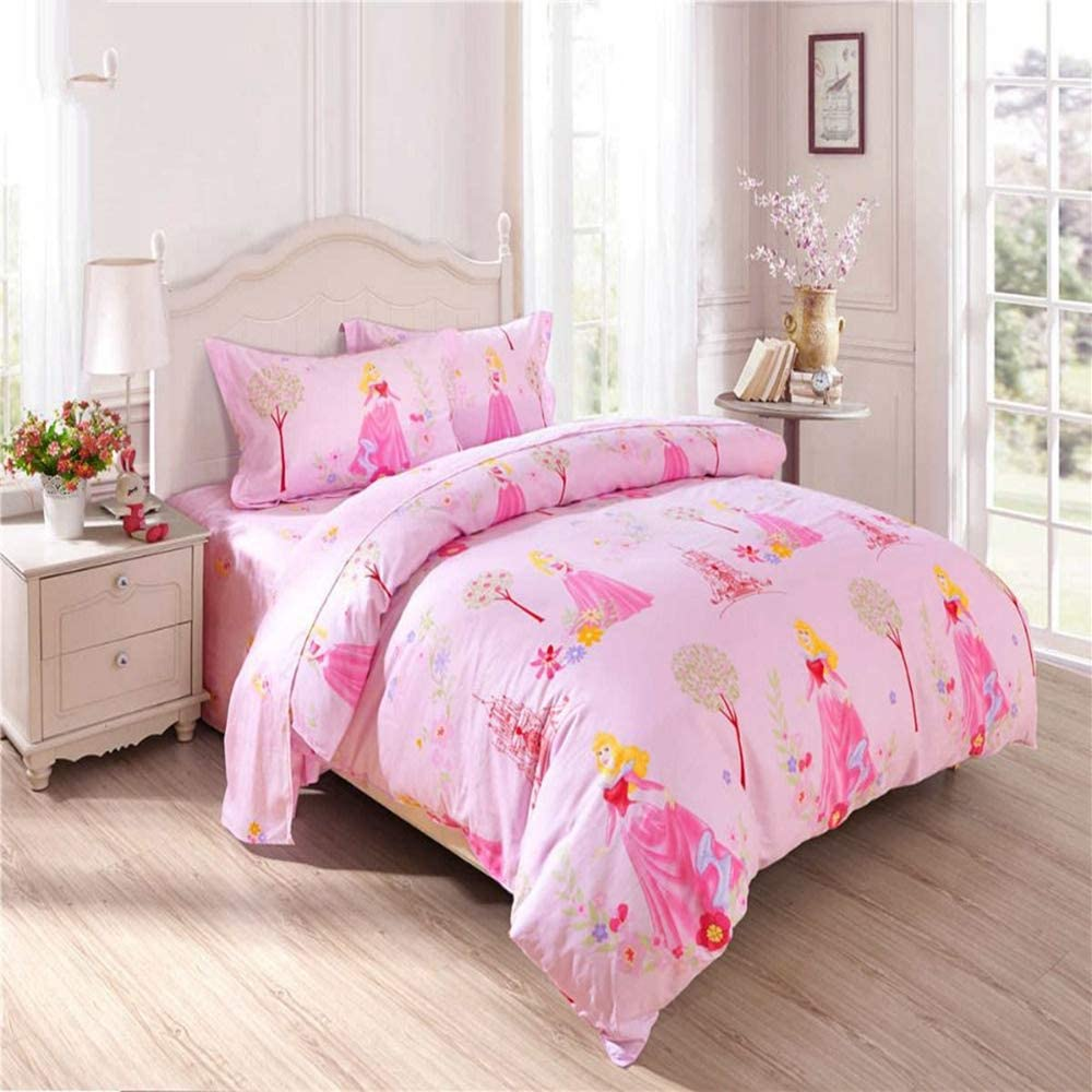 llwannr Sheets Summer and Autumn Section Princess Bedding Set Cotton Bed Sheets Cartoon Disney Textile Lines Girl Baby Bedroom Decor Twin Full Queen Size Pink