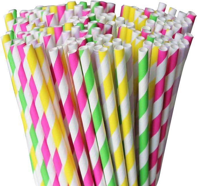 Belinlen 350 pajitas de papel biodegradables a rayas, papel ...