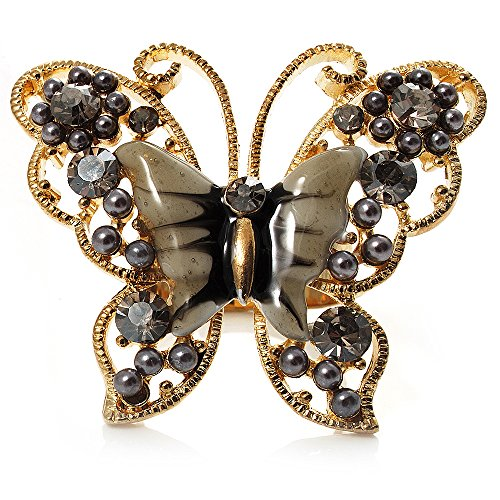 (Avalaya Large Ash Grey Enamel Butterfly Ring (Gold)