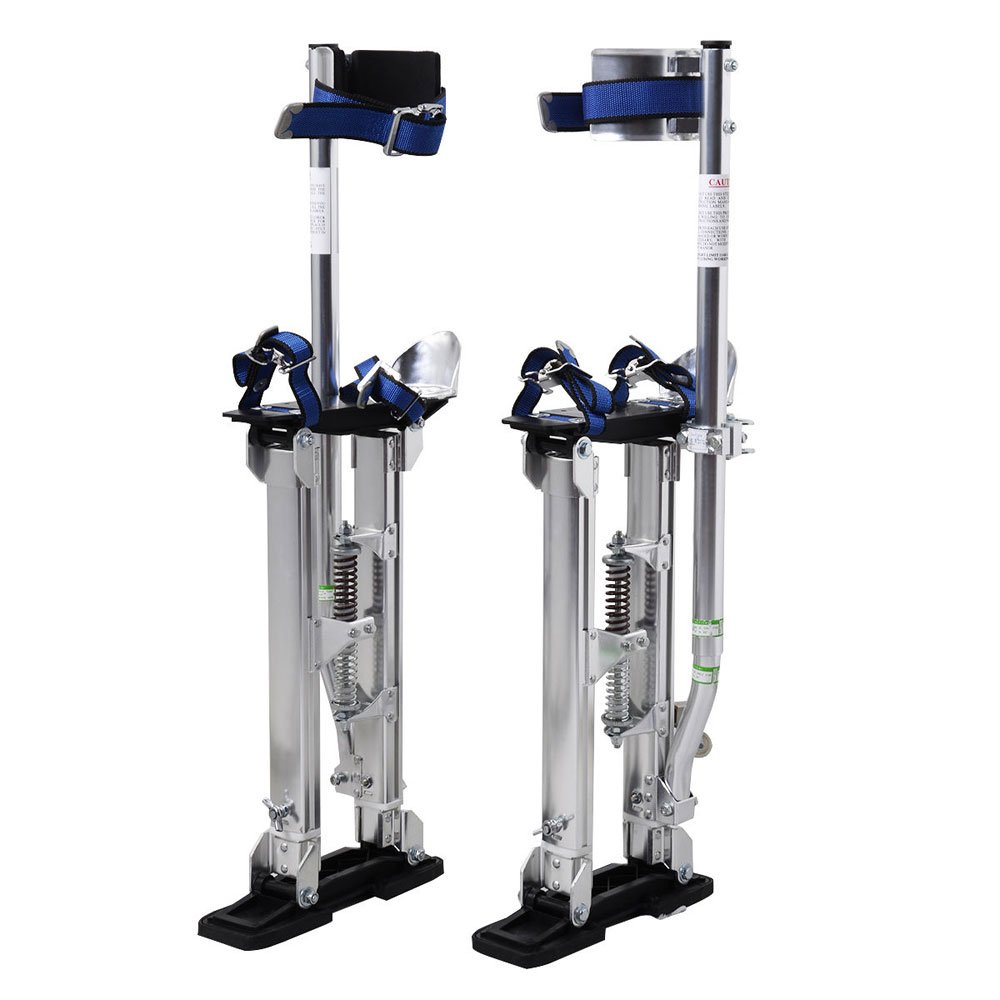 FCH Aluminum Tool Stilts Height Adjustable 24-40'' Drywall Stilt Lifts for Taping Painting Finishing Portable Lifting Tool Silver