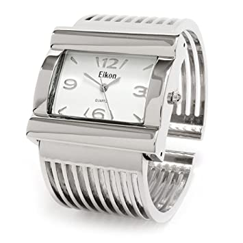 a8a88aa91 Image Unavailable. Image not available for. Color: Silver Grill Band Large  Face Women's Wide Bangle Cuff Watch