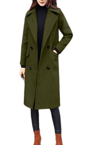 Señoras Cálido Acogedor Abrigo De Lana De Moda Abrigo Simple Abrigo De Lana Elegante Mangas Largas Chaqueta Larga Gris