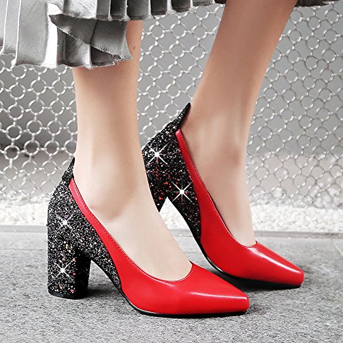 Charm Foot Womens Pointed Toe Chunky High Heel Sequins Pumps Shoes Red RXXn2geZ6P