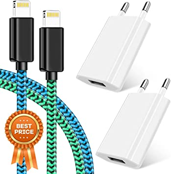 Cargador Phone, Cargador para móvil 2 Pack 1M Cable + Dos Enchufe USB 1A 5V Movil