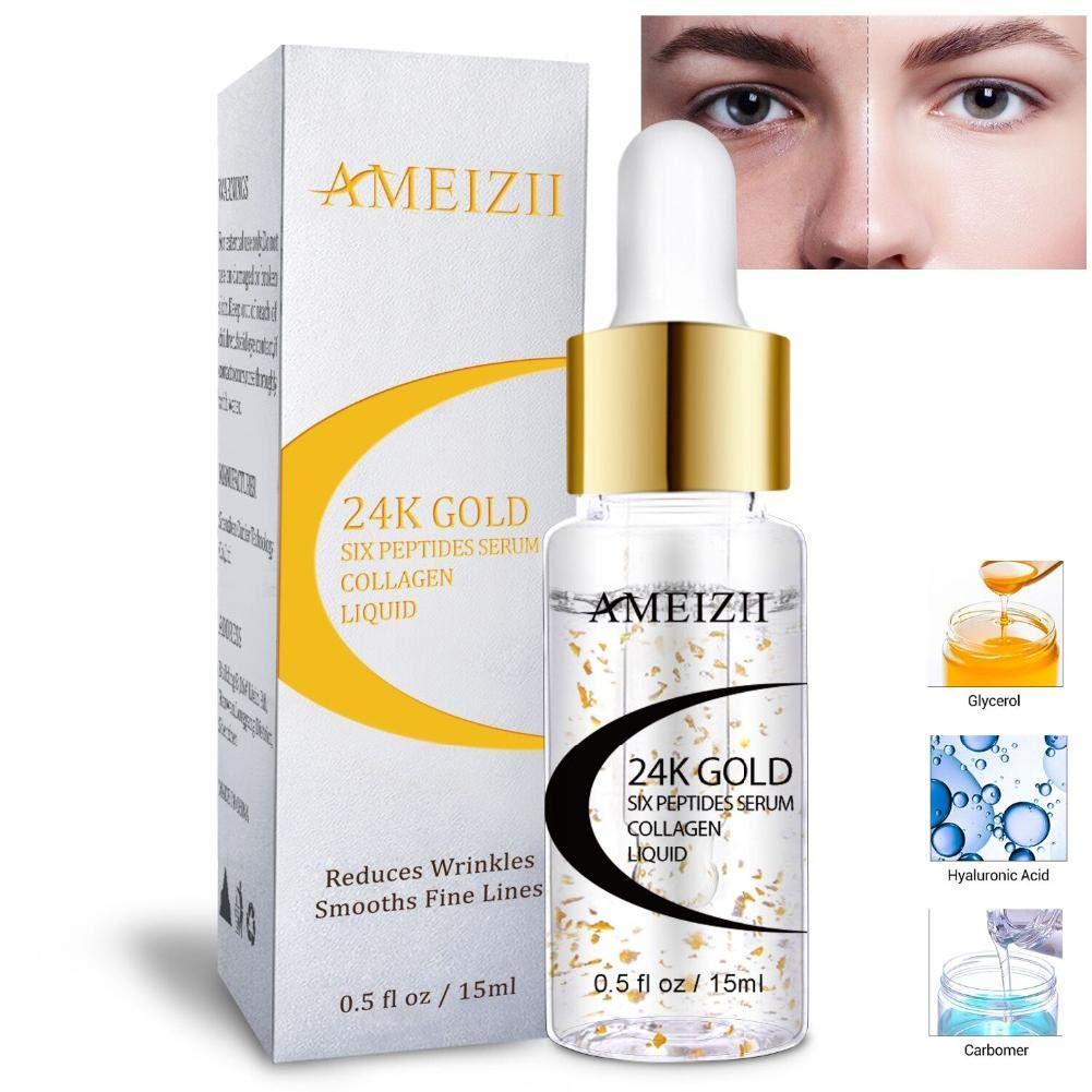Moisturizing Essence 24k gold Hexapeptide Essence Whitening Hyaluronic Acid Facial Cream Anti-Wrinkle Skin Firming Liquid (15ML) AMEIZII