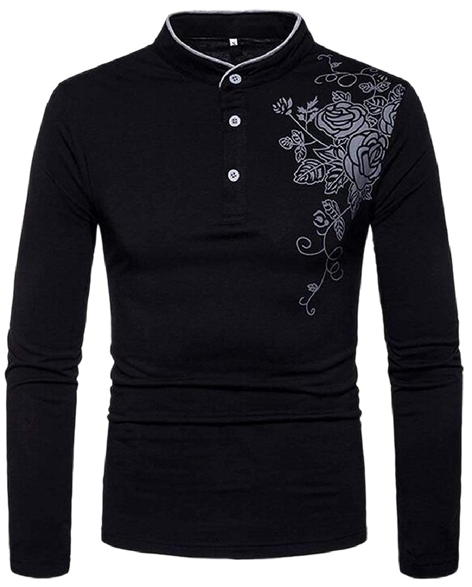 FLCH+YIGE Mens Pullover Vogue Long-Sleeved Printing Casual Mao Collar Blouses
