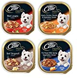 Cesar Home Delights Dog Food 4 Flavor 8 Can Bundle: (2) Meat Lasagna, (2) Chicken Noodle Vegetables, (2) Beef Stroganoff, & (2) Pot Roast & Spring Vegetables, 3.5 Oz. Ea.