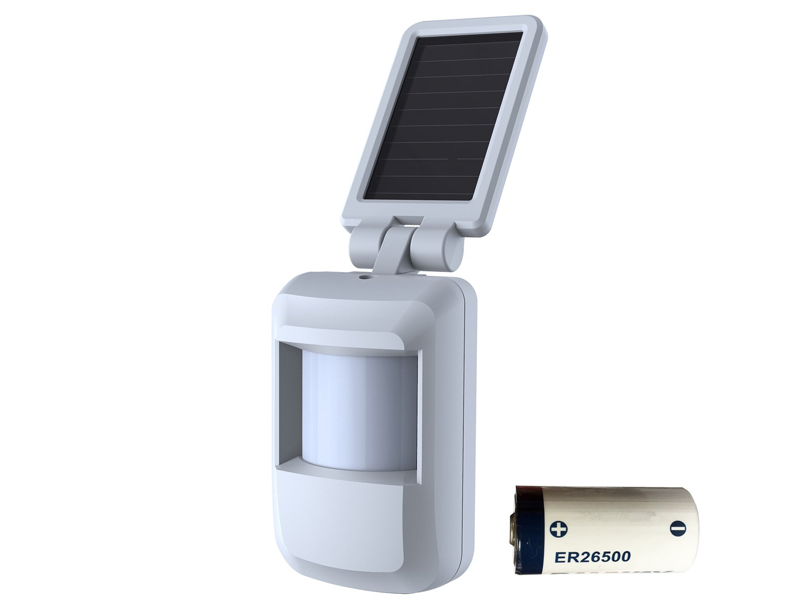 HTZSAFE Solar Wireless Motion Sensor- 5 Years No Need Replace The Battery- Sensor Included 9000mAh Lithium Battery-1/4 Mile Long Transmission Range- Home/Business PIR Detector(Not Waterproof)