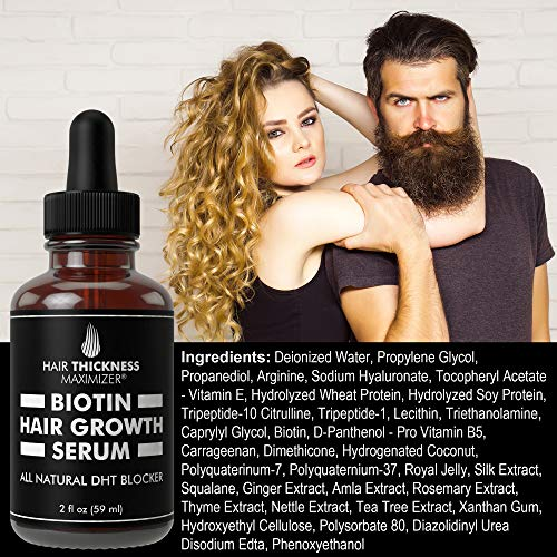 Biotin Hair Growth Serum by Hair Thickness Maximizer. DHT Blocker Oil For Hair Loss, Dry, Damaged, Hair. Natural Thickening and Smoothing of Hair and Nourishing of Scalp for Women and Men (2oz) 6